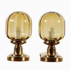 Vintage Glass Table Lamps from Limburg, 1970s, Set of 2