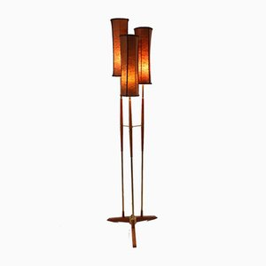 Swedish Teak and Brass Floor Lamp with 3 Shades, 1950s