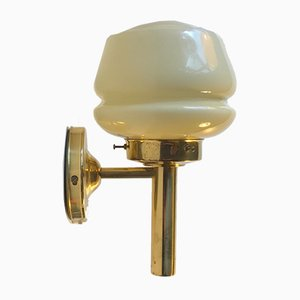 Danish Brass and Opaline Glass Sconce from Abo Metalkunst, 1970s