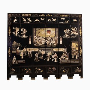 French Lacquered, Gilded, and Painted Chinoiserie Screen, 1960s