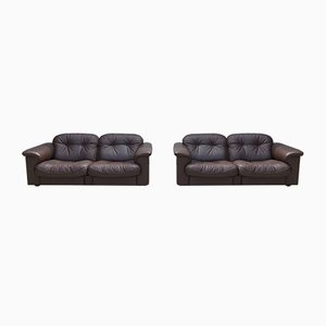Brown Leather 2-Seater Sofas from de Sede, 1983, Set of 2