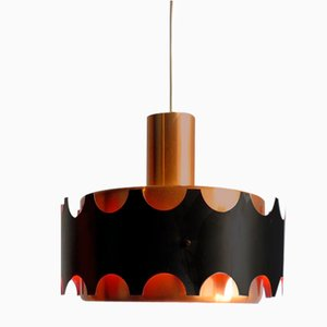 Coppered and Black Pendant Lamp, 1960s