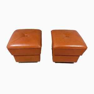 Leather Ottomans on Wheels, 1960s, Set of 2