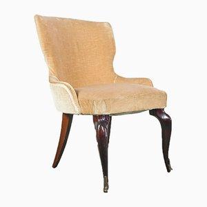 Wood & Velvet Lounge Chair, 1950s