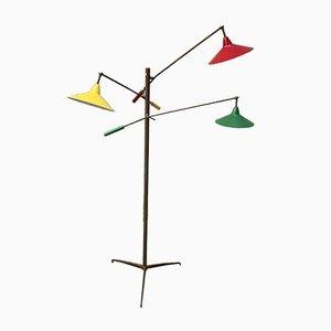Lampada da terra a 3 braccia in stile Arredoluce, Italia, anni '50