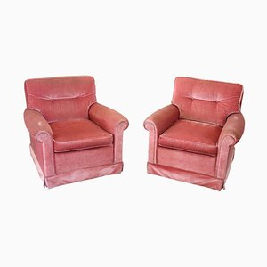 Vintage Pink Velvet Lounge Chairs, 1980s, Set of 2