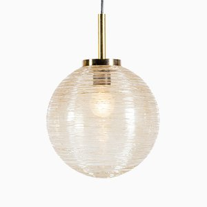 Mid-Century Etched Glass Globe Pendant Lamps from Raak, 1960s, Set of 2