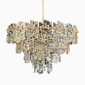 Crystal and Gilt Structure Chandelier from Kinkeldey, 1970s