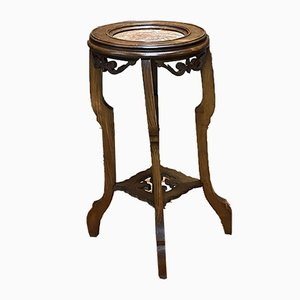 Vintage Walnut and Marble Side Table