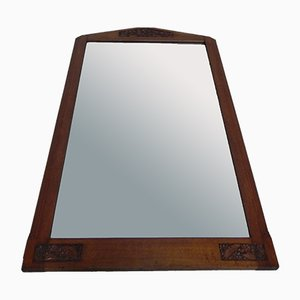 Art Deco Oak Faceted Glass Mirror, 1930s