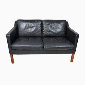Danish Black Leather 2-Seater Sofa by Børge Mogensen for Fredericia, 1970s