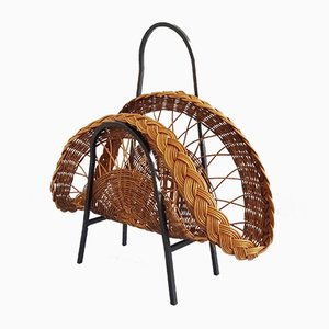 Mid-Century German Iron and Rattan Magazine Rack, 1960s