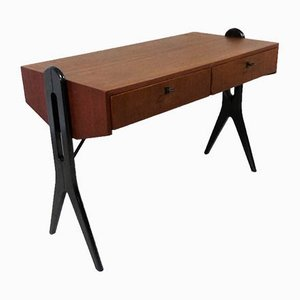 Teak Desk with Black Scissor Legs, 1960s
