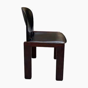 Mid-Century Black Leather & Rosewood Nr. 121 Dining Chairs by Tobia & Afra Scarpa for Cassina, Set of 4