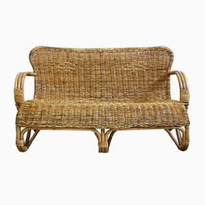 Vintage Bamboo Wicker Sofa from Rohé Noordwolde, 1960s