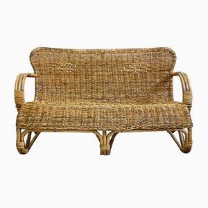 Vintage Bambus Korbgeflecht Sofa von Rohé Noordwolde, 1960er