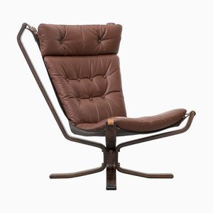 Danish Leather High Back Superstar Lounge Chair, 1970s