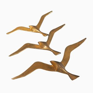 Vintage Brass Wall Decoration Swallows, 1950s