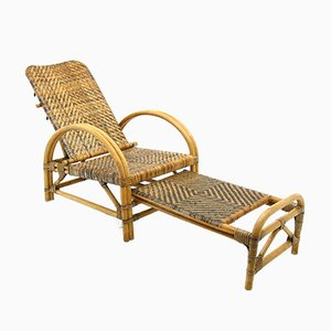 Rattan Armchair or Deck Chair, 1970s