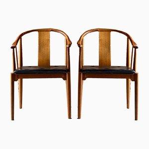 Walnut China Chairs by Hans J. Wegner for Fritz Hansen, 1977, Set of 2