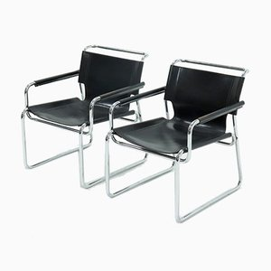 Mid-Century Leather and Tubular Lounge Chairs, 1960s, Set of 2
