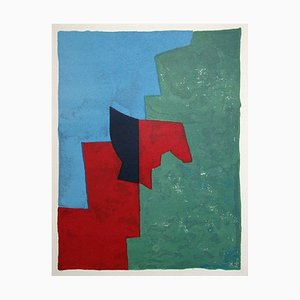 Red, Green, and Blue Composition Lithograph by Serge Poliakoff, 1961
