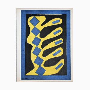 Yellow, Blue, and Black Composition Lithograph after Henri Matisse, 1954
