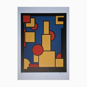 Constructive Composition Screen Print by Dirk Koning, 1970