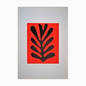 Leaf on Red Lithograph in Colors after Henri Matisse, 1965