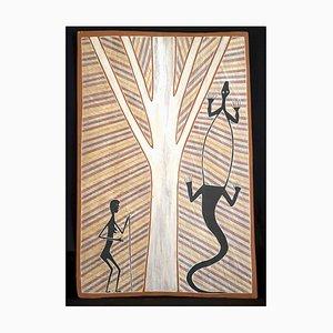 Jikara and Gachalan Painting on Bark by Terry Ngamandara, 1999