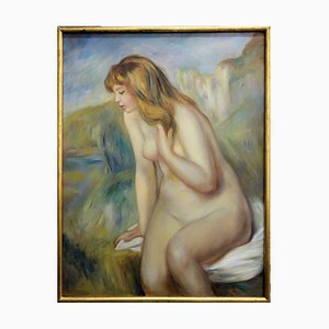 Vintage Bather on a Rock Oil on Canvas in the Style of Pierre Auguste Renoir by Auguste Renoir