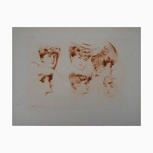 Study of Mother and Daughters Radierung von Paul-César Helleu