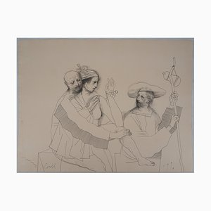 The Lovers and the Pilgrim Drawing by Miguel Conde, 1993