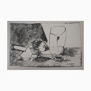Apfel, Glas und Messer Lithographie von Pablo Picasso, 1947