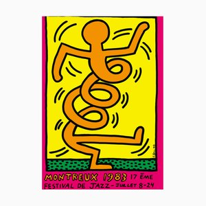 Montreux Jazz Festival Orange Screen Print by Keith Haring, 1983
