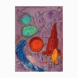 Saint-Germain des Pres Lithograph by Marc Chagall, 1954