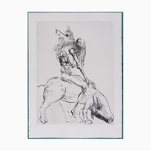 Femme Au Cochon Faust Radierung von Salvador Dali, 1969