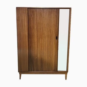 Teak Wardrobe with Sliding Door, 1970s
