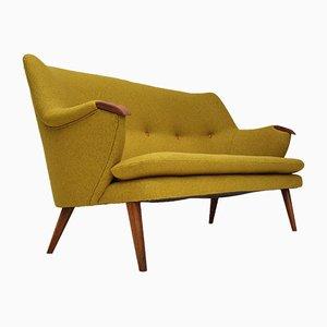 Danish Wool Fabric, Oak & Teak Sofa, 1960s