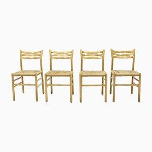 Italienische Esszimmerstühle aus Leinen & Buche, 1960er, 4er Set