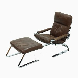 Mid-Century Chrome and Leather Recliner Chair & Ottoman, 1960s, Set of 2