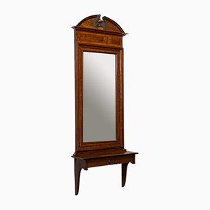 Vintage French Walnut and Glass Hallway Mirror, 1930s