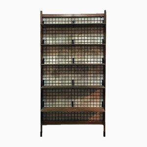 Vintage Italian Black Metal Grid and Teak Shelf, 1960s