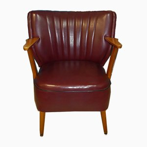 Mid-Century Bordeaux Skai Leather Club Chair, 1950s