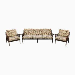 3-Sitzer Sofa & Sessel aus Stoff & Holz, 1920er, 3er Set