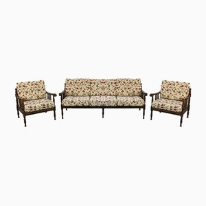 Fabric & Wood 3-Seat Sofa & Armchairs, 1920s, Set of 3