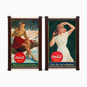 Vintage Coca-Cola Cardboard Advertising Signs by Edward & Deutsch Lithograph Co., 1940s, Set of 2