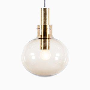 Lampe à Suspension Globe Mid-Century en Verre et en Laiton de Raak, 1960s