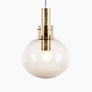 Mid-Century Glass and Brass Globe Pendant Lamp from Raak, 1960s