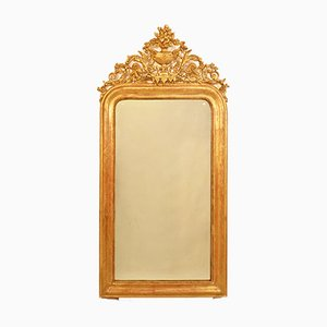 Antique Mirror Cimasa with Cup and Flowers & Gilded Frame, 1800s